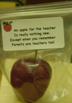 For open house: An apple for the teacher is really nothing new.  Except when you remember parents are teachers too!