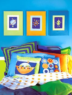 Cool blue for Logan's bedroom. He pick this blue and orange for his bedroom