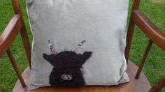 Gorgeous Handmade Applique Feather Cushion with Highland Cow Detail £48.00
