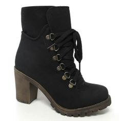 LADIES HIGH HEELS BIKER BOOTS WOMENS GIRLS ARMY ANKLE RIDING WINTER SHOES SIZE | eBay