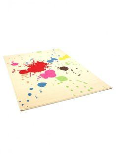 Die bunten Farbspritzer auf neutralem Grund peppen jeden Raum auf, dominieren ihn aber nicht. #homestory #home #carpet #trends #colour #interior