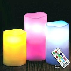 3 Piece Flameless LED Candle Set with Remote Church Events, Led Candles, Candle Set, 3 Piece, Different Colors, Remote, Pilot