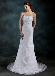 Sheath/Column Sweetheart Court Train Satin Lace Wedding Dress With Ruffle Beading Sequins (002000202) http://www.dressdepot.com/Sheath-Column-Sweetheart-Court-Train-Satin-Lace-Wedding-Dress-With-Ruffle-Beading-Sequins-002000202-g202 Wedding Dress Wedding Dresses #WeddingDress #WeddingDresses