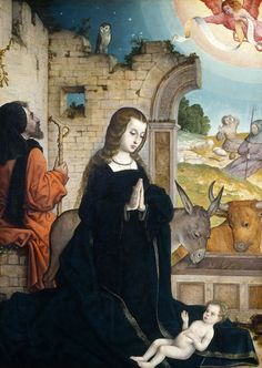 """Juan de Flandes (John of Flanders, c. 1460 - 1519) was an Early Netherlandish painter who was active in Spain from 1496-1519; his actual name is unknown, although an inscription Juan Astrat on the back of one work suggests a name such as """"Jan van der Straat""""."""