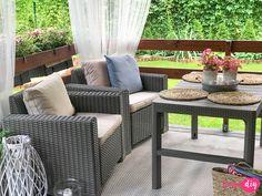 Jak urządzić drewniany taras? Moje sposoby na wyjątkowy klimat. - Twoje DIY Bahay Kubo Design, Outdoor Furniture Sets, Outdoor Decor, Cozy Place, Home Interior Design, Tiny House, Beautiful Homes, Farmhouse, Cottage
