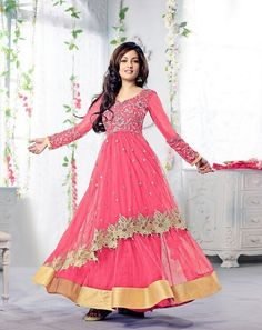 Pink Designer Anarkali Suit - Rs. 1495.00