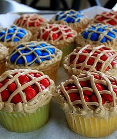 Cupcakes topped with red and blue M to look like little pies.  So cute!