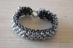 Silver crystal bracelet gemstone wristband by GregzCollection on Etsy