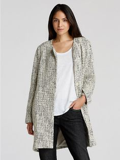 Round Neck Coat in Twisted Cotton Texture