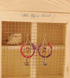 Pink/Purple Dangle Earrings by Bluegypsytrunk on Etsy