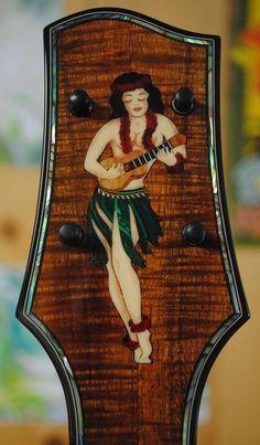 Sailor Jerry hula girl inlay on a Moore Bettah ukulele. Chuck makes really pretty ukes!
