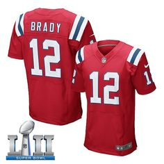 Men s new england patriots  12 tom brady red 2018 super bowl lii elite  jersey from 18a2d16ab