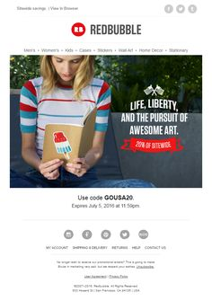 The 18 best independence day emails images on pinterest email redbubble email with coupon code for the 4th july emailmarketing email marketing fandeluxe Image collections