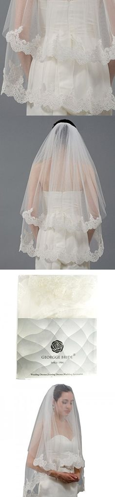 GEORGE BRIDE 2T Lace Wedding Veils With Comb Cover Face Bridal Veil (Ivory)