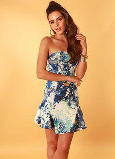 Vestido Tomara que Caia Floral Azul Coca Cola - Posthaus