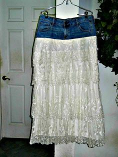 Vintage lace jean skirt exquisite ruffled layered tiered embroidered fairy…