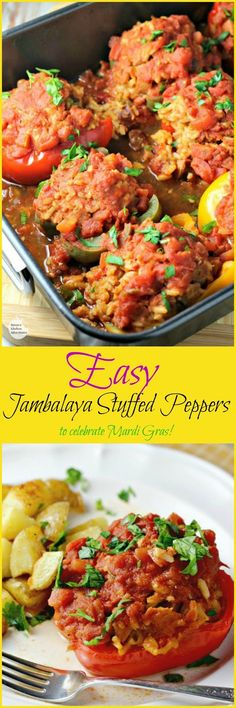 Easy Jambalaya Stuffed Peppers | by Renee's Kitchen Adventures - easy recipe for stuffed peppers filled with delicious sausage jambalaya and perfect for Mardi Gras! #SundaySupper @Zatarains