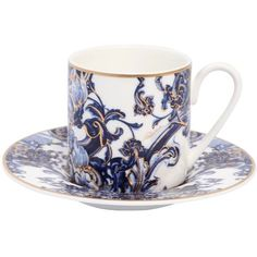 Roberto Cavalli Home Azulejos Set Of 2 Espresso Cups ($325) ❤ liked on Polyvore featuring home, kitchen & dining, drinkware, bone china, roberto cavalli, couple cups and twin pack