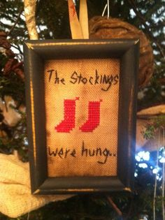 Early Christmas Sampler ~ Stockings Cross Stitch Tuckaway ~Primitive Ornie~  #NaivePrimitive