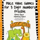 Place Value Games for 3 Digit Numbers Freebie - from Games 4 Learning  This contains 2 printable Place Value Games for 3 Digit Numbers.  Rhino Race...