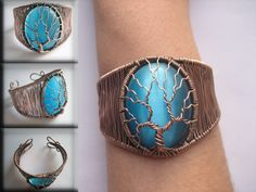 """Tree of Life Wire-Wrapped Bracelet with turquoise """"cat's eye"""" stone oxydized copper by TwistedWireCraft on Etsy Cats Eye Stone, Wire Wrapped Bracelet, Tree Of Life, Copper Wire, Vintage Looks, Wire Wrapping, Turquoise Bracelet, Cuff Bracelets, Take That"""