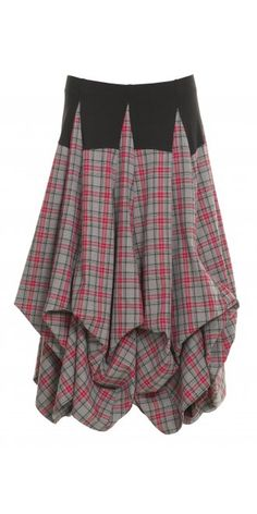 She's Crazy Grey and Red Tartan Tier Skirt