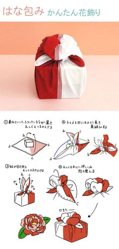 Furoshiki bicolore rouge-blanc White and red furoshiki