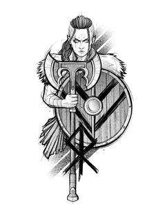 Viking Drawings, Cool Art Drawings, Tattoo Drawings, Cool Forearm Tattoos, Cool Small Tattoos, Guerrero Tattoo, Greece Tattoo, Viking Warrior Tattoos, Neotraditional Tattoo