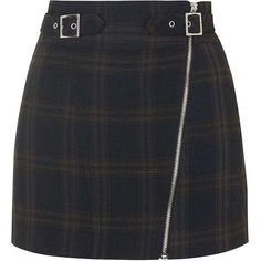 TOPSHOP PETITE Check Biker Zip Skirt ($70) ❤ liked on Polyvore featuring skirts, bottoms, faldas, navy blue, petite, checked skirt, topshop skirt, bike skirt, zipper skirt and navy skirt