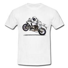 Camiseta con fantástico dibujo de motorista en su moto. Moteros ddb294369d911