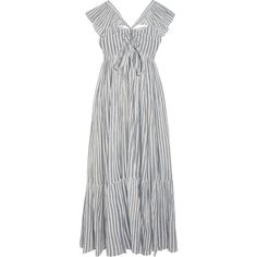 Ulla Johnson Ariane striped cotton-gauze maxi dress (1.595 BRL) ❤ liked on Polyvore featuring dresses, vestidos, sky blue, ruffle maxi dresses, blue and white dress, ruffle dress, stripe dress and striped dresses