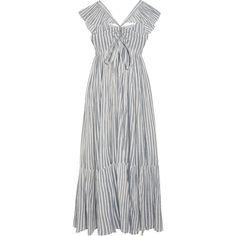 Ulla Johnson Ariane striped cotton-gauze maxi dress (6,860 MXN) ❤ liked on Polyvore featuring dresses, striped dress, ruffled dresses, blue and white striped dress, ruffle maxi dress and striped maxi dress