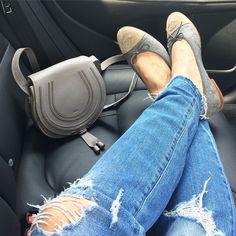 diesel ripped jeans, chanel grey felt flats, chloe marcie bag grey, fifty shades of grey, FSOG, streetstyle dubai Yasmin_dxb instagram