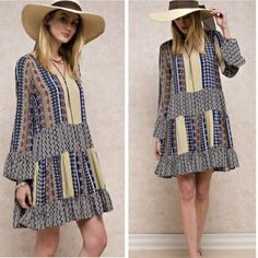 •boho shift dress• Dress features mosaic boho pattern. Shift dress cut with bell sleeves.  Material of outer is 100% rayon.  Fully lined. Material 100% poly. Small bust measures 36 inches, waist 39, length 34. Medium bust measures 39 inches, waist 43, length 35. Large bust measures 42 inches, waist 45, length 35.5. Price firm Dresses Midi