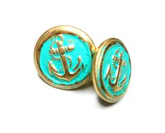 Antique gold patina turquoise green sailor anchor post button earrings