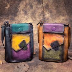 Vintage Geometric Designer Girls Small Crossbody  Panelled Color Genuine Cow Leather Women's Messenger Ladies Shoulder Bags