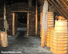 Inside the long house at L'Anse aux Meadows Viking Landing Site, Newfoundland L'anse Aux Meadows, Viking House, Long House, North Sea, House On Wheels, Newfoundland, Ancient Art, Archaeology, Landing