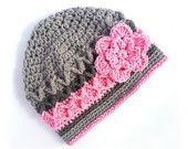 Crochet Hat for Girl - Baby Girl Beanie, Toddler Hat for Girls, Gray and Pink, 2T-4T