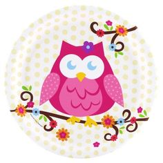 Complete Your Look With Owl Blossom Dinner Plates. Huge Selection of Owl Tableware for Birthday, Birthday at PartyBell. Owl Themed Parties, Owl Birthday Parties, 2nd Birthday, Birthday Ideas, Birthday Decorations, Happy Birthday, Pink Owl, Baby Owls, Illustrations
