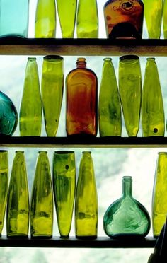 chartreuse  glass bottles