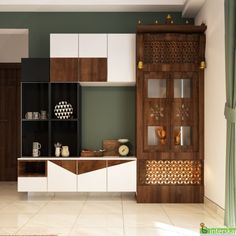 The challenge was to provide the storage space while keeping the decor aesthetically pleasing. The beautifully designed and strategically placed wooden cabinets adds to the tranquility of the over all ambiance. Wardrobe Design Bedroom, Master Bedroom Interior, Bedroom Furniture Design, Kitchen Wardrobe Design, Wooden Partition Design, Room Partition Designs, House Outer Design, Small House Interior Design, Pooja Room Door Design