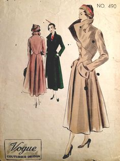 1950s Vintage VOGUE Sewing Pattern B38 COAT (1387) #Vogue