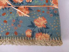 Crocheted Edge Blanket  Peonies Blue by BabyDear on Etsy