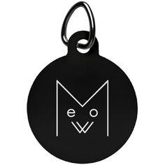 Meow Circle Pet Tag, White Design – Optic Poem Design