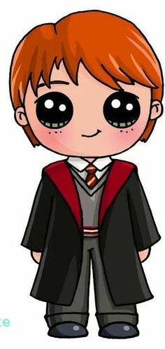 Ideas How To Draw Harry Potter Ron Weasley Kawaii Girl Drawings, Disney Drawings, Cartoon Drawings, Cute Drawings, Harry Potter Ron, Harry Potter Drawings, Kawaii Doodles, Kawaii Art, Desenhos Harry Potter