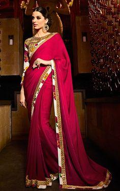 Artistic Crimson Saree with Designer Blouse