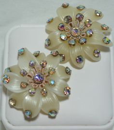 Big Vintage Celluloid Flower Power Aurora Borealis AB Rhinestone Clip Earrings | eBay