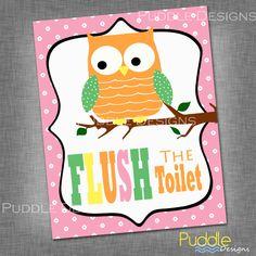Printable Owl Bathroom Decor by PuddleDesign on Etsy, $23.00