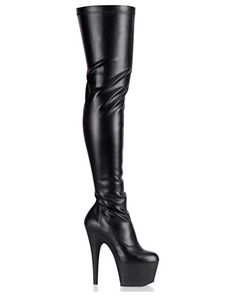 Pleaser - Exotic - Adore 3000 - Thigh High Boots - Stretch Faux Leather - Black