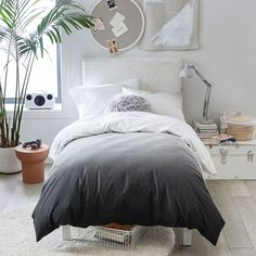 Fade off to sleep under a layer of soft organic cotton in cool ombré shades. Fair Trade Certified™ and made from sustainably sourced cotton, the collection is GOTS certified, the standard of organic textiles, for a healthier sleep space.  Pottery Barn Teen Ombre Organic Duvet Cover & Sham